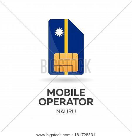 Nauru Mobile Operator. Sim Card With Flag. Vector Illustration.