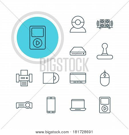 Vector Illustration Of 12 Technology Icons. Editable Pack Of Game Controller, Monitor, Video Chat And Other Elements.