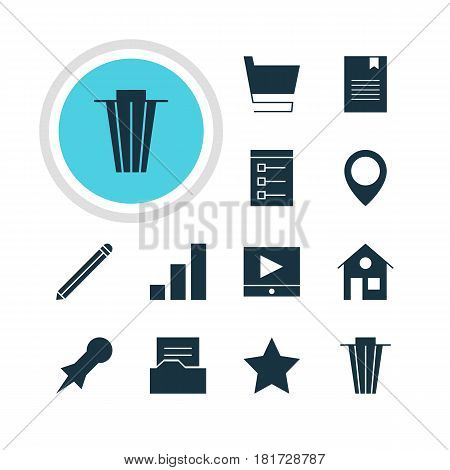 Vector Illustration Of 12 Online Icons. Editable Pack Of Board, Bookmark, Document Directory And Other Elements.