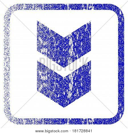 Shift Down textured icon for overlay watermark stamps. Blue vectorized texture. Flat vector symbol with dust design inside rounded square frame. Framed blue rubber seal stamp imitation.