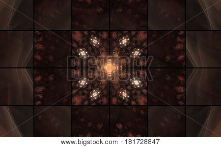 An abstract illustration consisting of squares of the same size brown shades and various patterns