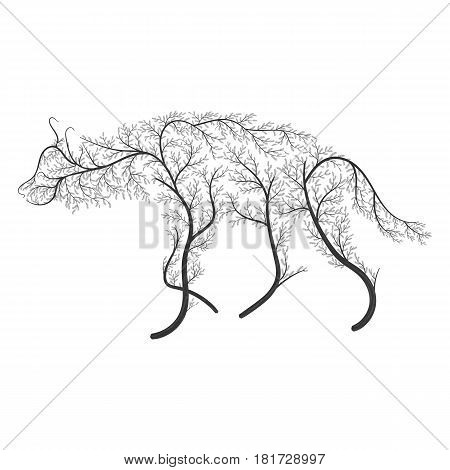 Silhouette Of A Hyena Stylized By Bushes On A White Background.  For Use As Logos On Cards, In Print