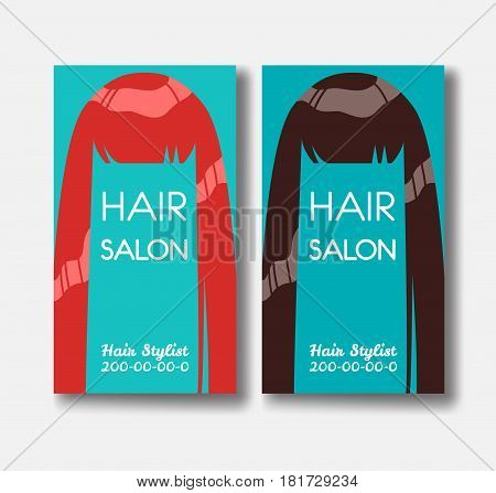 Hair salon business card templates with red hair and brown hairon green background
