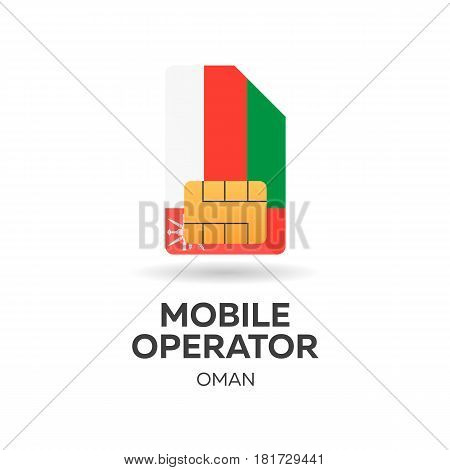 Oman Mobile Operator. Sim Card With Flag. Vector Illustration.