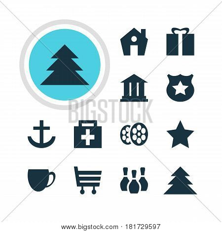 Vector Illustration Of 12 Check-In Icons. Editable Pack Of Drugstore, Present, Jungle And Other Elements.