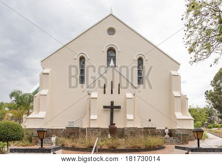 DE RUST SOUTH AFRICA - MARCH 23 2017: The historic Dutch Reformed Church in De Rust a village at the bottom of the scenic Meiringpoort in the Western Cape Province of South Africa