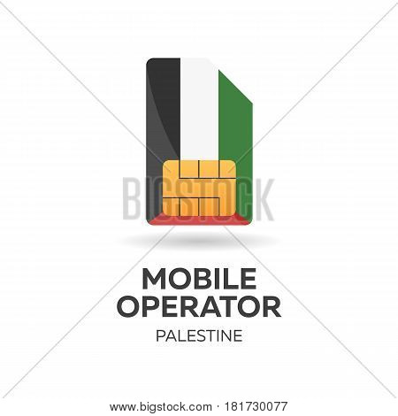 Palestine Mobile Operator. Sim Card With Flag. Vector Illustration.