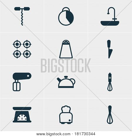 Vector Illustration Of 12 Cooking Icons. Editable Pack Of Wine Opener, Handmixer, Corolla Elements.