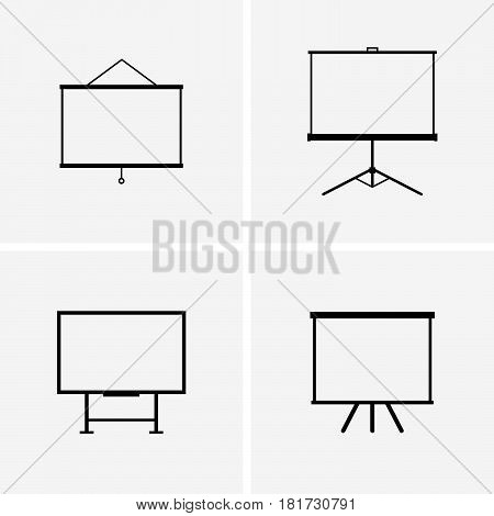 Set of four projector screens on grey background