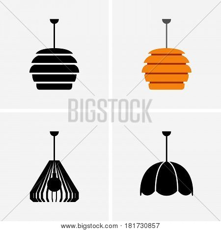 Set of four lampshades on lifht grey background