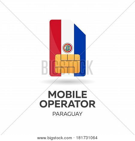 Paraguay Mobile Operator. Sim Card With Flag. Vector Illustration.