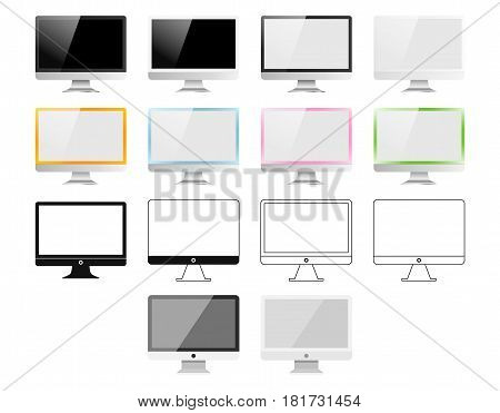 Set Of Monitors Made In Different Styles: Realistic, Flat, Linear Icon, Colourful. Vector Illustrati
