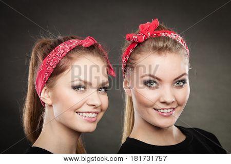 Portrait Of Retro Pin Up Girls In Red Handkerchief.