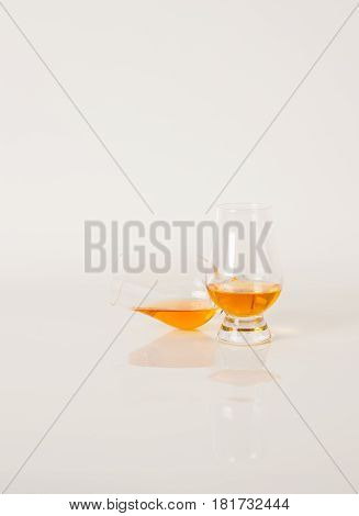 Set Of Single Malt Tasting Glasses, Single Malt Whisky In A Glasses, White Background