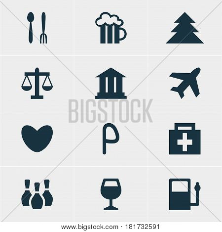 Vector Illustration Of 12 Travel Icons. Editable Pack Of Heart, Refueling, Car Park And Other Elements.