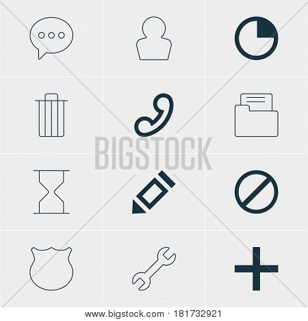 Vector Illustration Of 12 User Icons. Editable Pack Of Dossier, Message, Wrench And Other Elements.