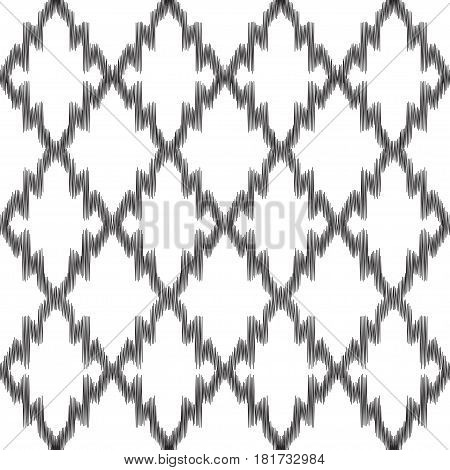 Vector Ikat seamless pattern. Ethnic background. Black and white colored illustration.