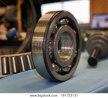 Close up of a ball bearing on a table in an exhibition