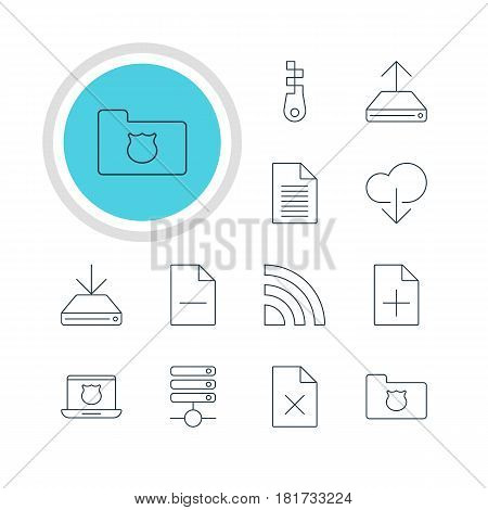 Vector Illustration Of 12 Network Icons. Editable Pack Of Delete Data, Privacy Doc, Data Upload And Other Elements.