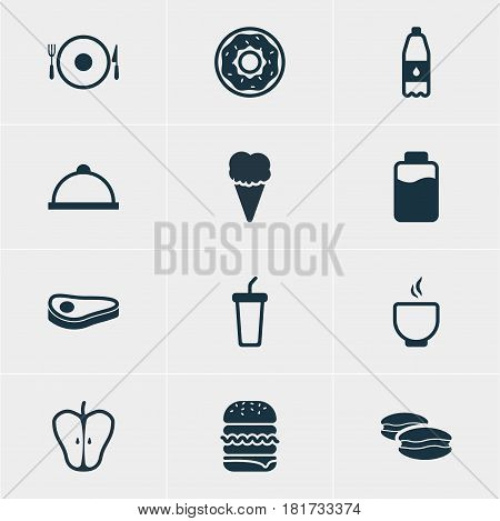 Vector Illustration Of 12 Eating Icons. Editable Pack Of Beefsteak, Soft Drink, Jonagold And Other Elements.