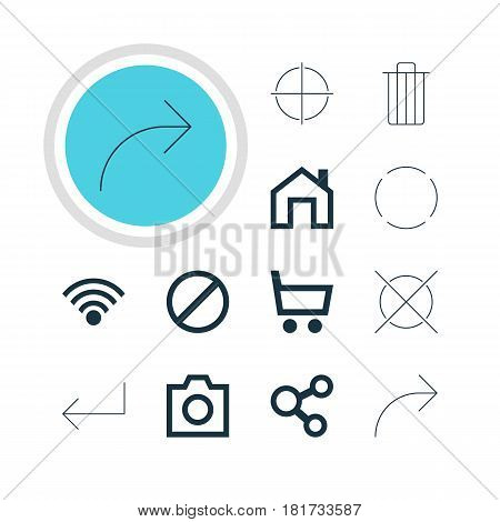 Vector Illustration Of 12 User Icons. Editable Pack Of Cordless Connection, Mainpage, Access Denied And Other Elements.