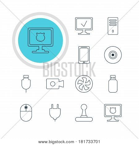 Vector Illustration Of 12 Notebook Icons. Editable Pack Of Objective, Game Controller, Serial Bus And Other Elements.
