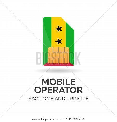 Sao Tome And Principe Mobile Operator. Sim Card With Flag. Vector Illustration.