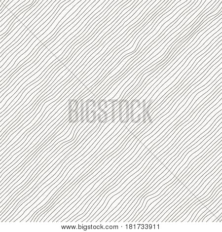 Vector monochrome seamless pattern. Abstract background. Irregular diagonal texture. Simple design. Textured slanting lines ornament.