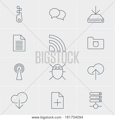 Vector Illustration Of 12 Internet Icons. Editable Pack Of Wireless Network, Document Adding, Fastener And Other Elements.