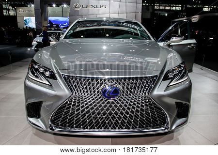 NEW YORK- APRIL 12: Lexus LS-500h shown at the New York International Auto Show 2017, at the Jacob Javits Center. This was Press Preview Day One of NYIAS, on April 12, 2017 in New York City