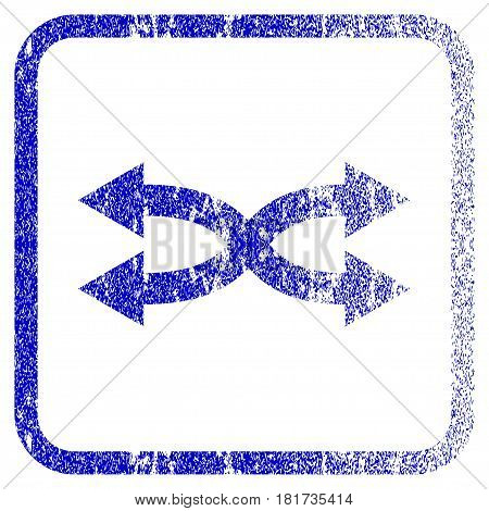 Shuffle Arrows Horizontal textured icon for overlay watermark stamps. Blue vectorized texture. Flat vector symbol with unclean design inside rounded square frame.