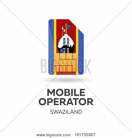 Swaziland Mobile Operator. Sim Card With Flag. Vector Illustration.