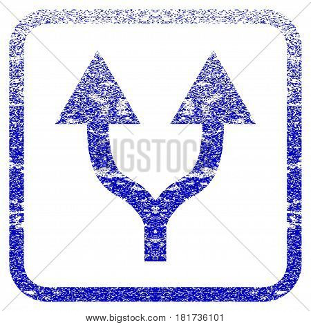 Split Arrows Up textured icon for overlay watermark stamps. Blue vectorized texture. Flat vector symbol with unclean design inside rounded square frame. Framed blue rubber seal stamp imitation.