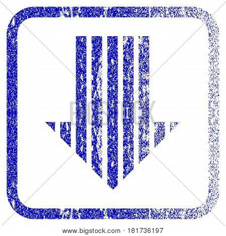 Stripe Arrow Down textured icon for overlay watermark stamps. Blue vectorized texture. Flat vector symbol with dirty design inside rounded square frame. Framed blue rubber seal stamp imitation.