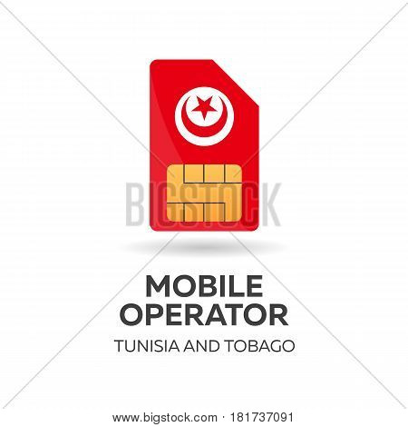 Tunisia And Tobago Mobile Operator. Sim Card With Flag. Vector Illustration.