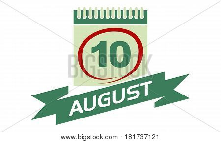 10 August Calendar with Ribbon Event Reminder