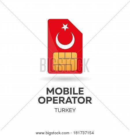 Turkey Mobile Operator. Sim Card With Flag. Vector Illustration.