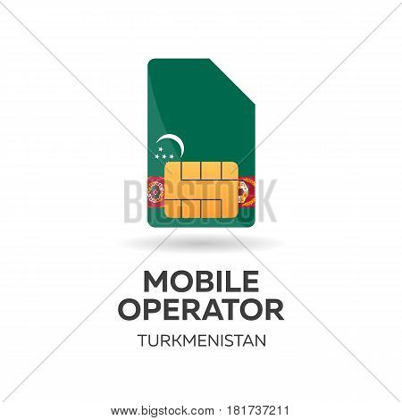 Turkmenistan Mobile Operator. Sim Card With Flag. Vector Illustration.
