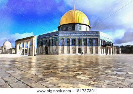 Colorful painting of al Aqsa mosque, Jerusalem, Israel