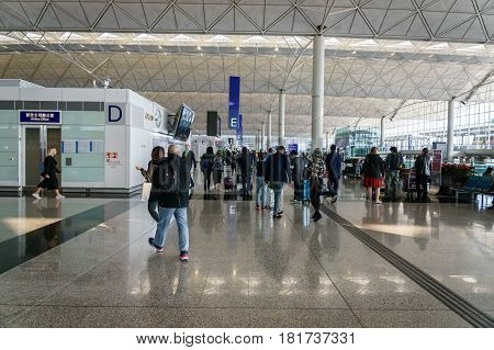 Hong Kong - circa March 2017: Departure terminal area of Hong Kong International Airport. It is the main airport in Hong Kong. The airport is located on the island of Chek Lap Kok