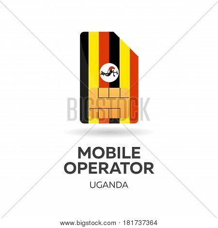 Uganda Mobile Operator. Sim Card With Flag. Vector Illustration.