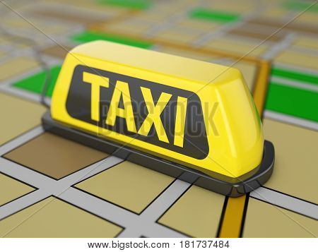Taxi sign on city map. 3D illustration.