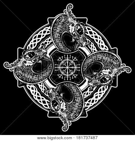 Celtic cross tattoo art and t-shirt design. Helm of Awe aegishjalmur celtic trinity knot tattoo. Dragons symbol of the Viking. Nordic celtic cross ethnic style graphics