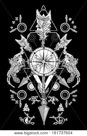 Rose compass and crossed arrows tattoo. Boho style adventure travel. Magical symbols traveler dreamer hunting astrology alchemy meditation tattoo. Rose compass art t-shirt design