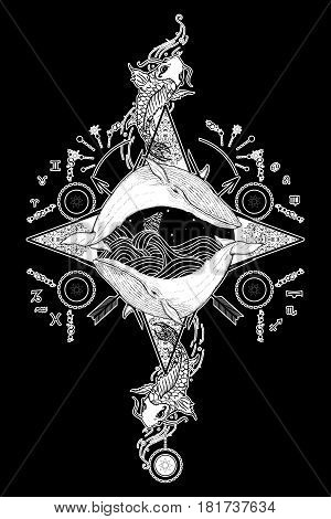 Two whales in sea wind rose compass mystical tattoo vector. Japanese carp in water tattoo. Travel adventure outdoors tattoo symbol. Whale tattoo for hipsters travelers. Storm at sea marine tattoo