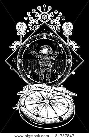Astronaut in deep space tattoo. Travel in boundless universe. Mysticism spirituality astrology tattoo art. Magical symbols traveler dreamer adventure meditation. Surrealist travel compass tattoo