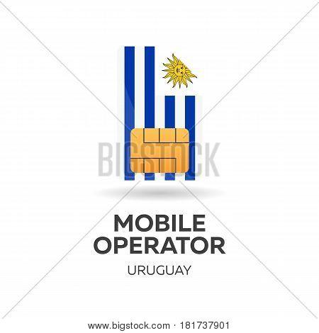 Uruguay Mobile Operator. Sim Card With Flag. Vector Illustration.