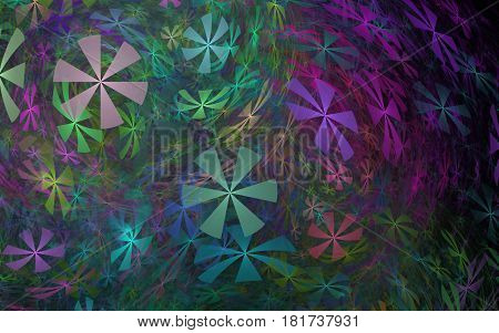 Illustration of abstract colors of different colors from six petals with sharp angles rotating throughout the composition
