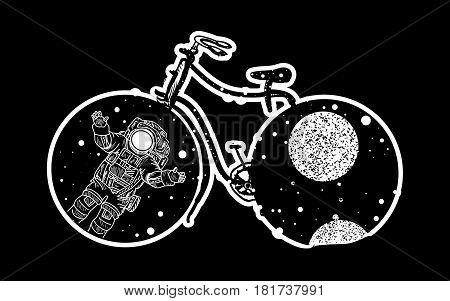 Bicycle tattoo art. Travel adventure outdoors meditation tattoo bicycle symbol. Astronaut in deep space tattoo. Bicycle wheels in which the universe tattoo