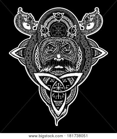 Viking warrior tattoo. Northern warrior t-shirt design. Celtic emblem of Odin. Northern dragons viking helmet ethnic style
